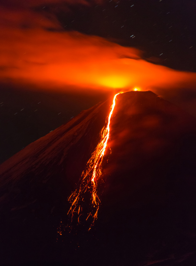 Photo by Denis Budkov. Lava flow on the slope of Klyuchevskoy volcano September 2013 .jpg