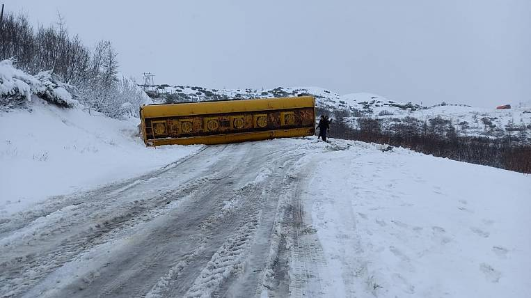 KAMAZ with fuel overturned on the highway in the Magadan region