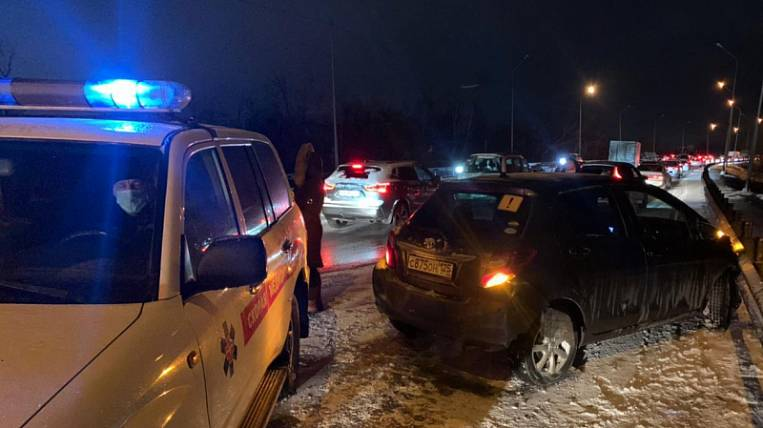 Accident with 15 cars happened in Primorye